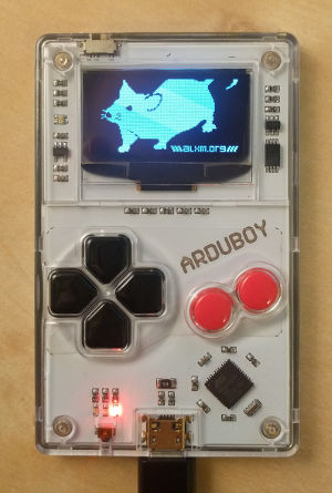 ArduboyMouse running on an Arduboy